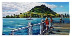 Mt Maunganui Pier 140114 Beach Towel by Selena Boron