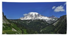 Mt Rainier Between The Valley Beach Towel