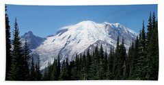Beach Towel featuring the photograph Mt. Rainier In August by Chalet Roome-Rigdon