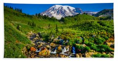 Mt. Rainier Stream Beach Towel