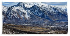 Mt. Timpanogos In Winter From Utah Valley Beach Towel