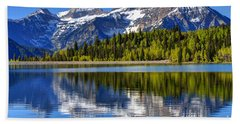 Mt. Timpanogos Reflected In Silver Flat Reservoir - Utah Beach Sheet by Gary Whitton