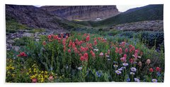 Mt. Timpanogos Wildflowers At Sunset Beach Towel