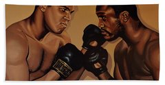 Muhammad Ali And Joe Frazier Beach Towel by Paul Meijering