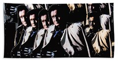 Beach Towel featuring the photograph Multiple Johnny Cash In Trench Coat 1 by David Lee Guss