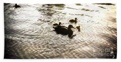 Mumma Duck And Ducklings Beach Sheet