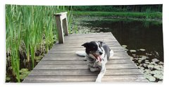 Mundee On The Dock Beach Towel by Michael Porchik