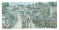 Beach Towel featuring the drawing Munjoy Hill by Dominic White
