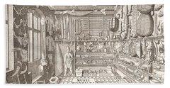 Museum Of Ole Worm, Leiden, 1655 Engraving Beach Towel