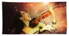 Music Explodes In The Night Beach Towel by Linda Lees