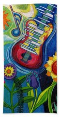 Music On Flowers Beach Towel by Genevieve Esson