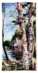 Beach Sheet featuring the painting Muskoka Reflections by Hanne Lore Koehler