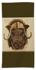 Beach Sheet featuring the pyrography Muskox by Ron Haist