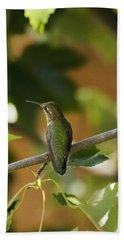 My Green Colored Hummingbird 4 Beach Towel