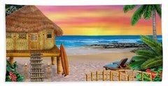 My Little Grass Shack Beach Towel by Glenn Holbrook