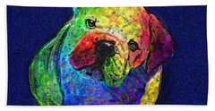 My Psychedelic Bulldog Beach Sheet by Jane Schnetlage