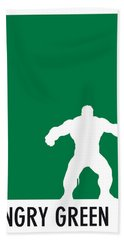 My Superhero 01 Angry Green Minimal Poster Beach Towel