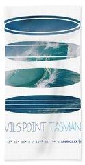 My Surfspots Poster-5-devils-point-tasmania Beach Towel