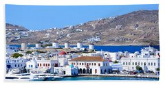 Mykonos Port Beach Towel
