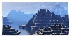 Beach Towel featuring the digital art Mysterious Terraced Mountains by Phil Perkins
