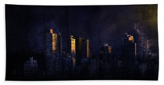 Mystic Orange Glowing Sunrise On Vancouver   Beach Towel by Peter v Quenter