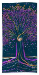 Mystic Spiral Tree 1 Purple Beach Towel