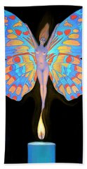 Naked Butterfly Lady Transformation Beach Towel