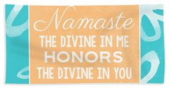 Namaste Watercolor Flowers- Blue Beach Towel