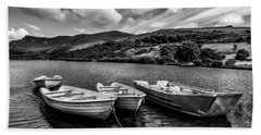 Beach Towel featuring the photograph Nantlle Uchaf Boats by Adrian Evans