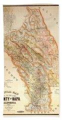 Napa Valley Map 1895 Beach Towel