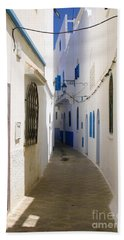 Beach Sheet featuring the photograph Narrow Backstreet In The Medina Of Asilah On Northwest Tip Of Atlantic Coast Of Morocco by Ralph A  Ledergerber-Photography