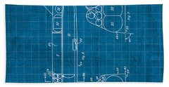 Nasa Space Shuttle Vintage Patent Diagram Blueprint Beach Towel by Design Turnpike