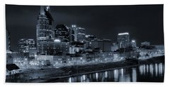 Nashville Skyline At Night Beach Towel by Dan Sproul
