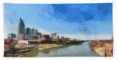 Nashville Skyline Panorama Beach Towel by Dan Sproul