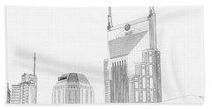 Nashville Skyline Sketch Batman Building Beach Towel by Dan Sproul