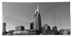 Nashville Tennessee Skyline Black And White Beach Sheet by Dan Sproul