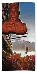 Beach Towel featuring the photograph Nathan's Famous Coney Island Sunset Frankfurters by Andy Prendy