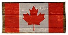 Canada National Flag On Wood Beach Towel