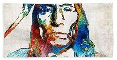 Native American Art By Sharon Cummings Beach Sheet by Sharon Cummings