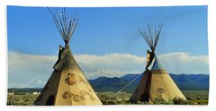 Native American Teepees  Beach Sheet by Dora Sofia Caputo Photographic Art and Design