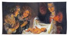 Beach Towel featuring the painting Nativity Scene Study by Donna Tucker