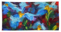 Nature's Palette - Himalayan Blue Poppy Oil Painting Meconopsis Betonicifoliae Beach Towel