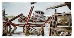 Beach Towel featuring the photograph Nautical - Shipwreck -twisted Grave by Gary Heller