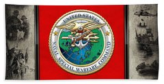Naval Special Warfare Command - N S W C - Emblem  Over Navy Seals Collage Beach Towel