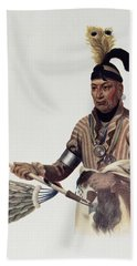 Naw-kaw Or Wood, A Winnebago Chief, Illustration From The Indian Tribes Of North America, Vol.1 Beach Towel