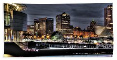 Beach Towel featuring the photograph Ncaa In Lights by Deborah Klubertanz