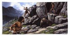 Neanderthals Hunt A Cave Bear Beach Towel