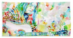Neil Young Playing The Guitar - Watercolor Portrait.1 Beach Towel