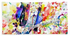 Neil Young Playing The Guitar - Watercolor Portrait.2 Beach Towel