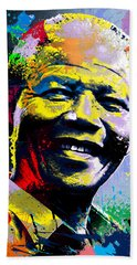 Nelson Mandela Madiba Beach Towel by Anthony Mwangi